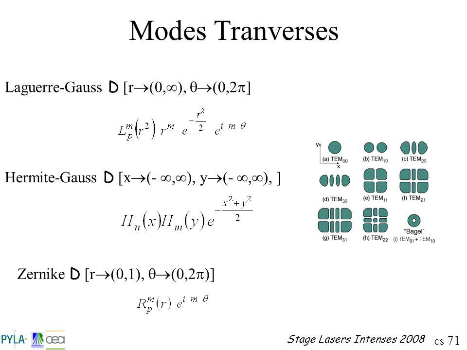 CS 71 Stage Lasers Intenses 2008 Laguerre-Gauss D [r (0, ), (0,2 ] Hermite-Gauss D [x (-, ), y (-, ), ] Zernike D [r (0,1), (0,2 )] Modes Tranverses