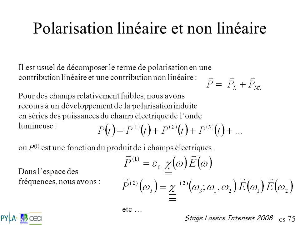 CS 75 Stage Lasers Intenses 2008 Polarisation linéaire et non linéaire Il est usuel de décomposer le terme de polarisation en une contribution linéair