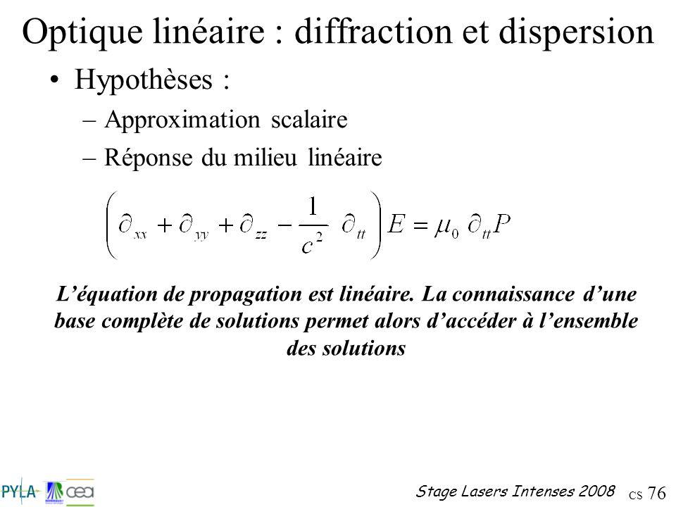 CS 76 Stage Lasers Intenses 2008 Optique linéaire : diffraction et dispersion Hypothèses : –Approximation scalaire –Réponse du milieu linéaire Léquati