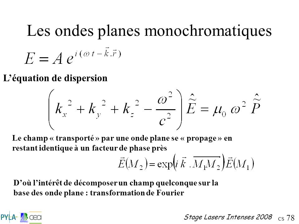 CS 78 Stage Lasers Intenses 2008 Les ondes planes monochromatiques Léquation de dispersion Le champ « transporté » par une onde plane se « propage » e