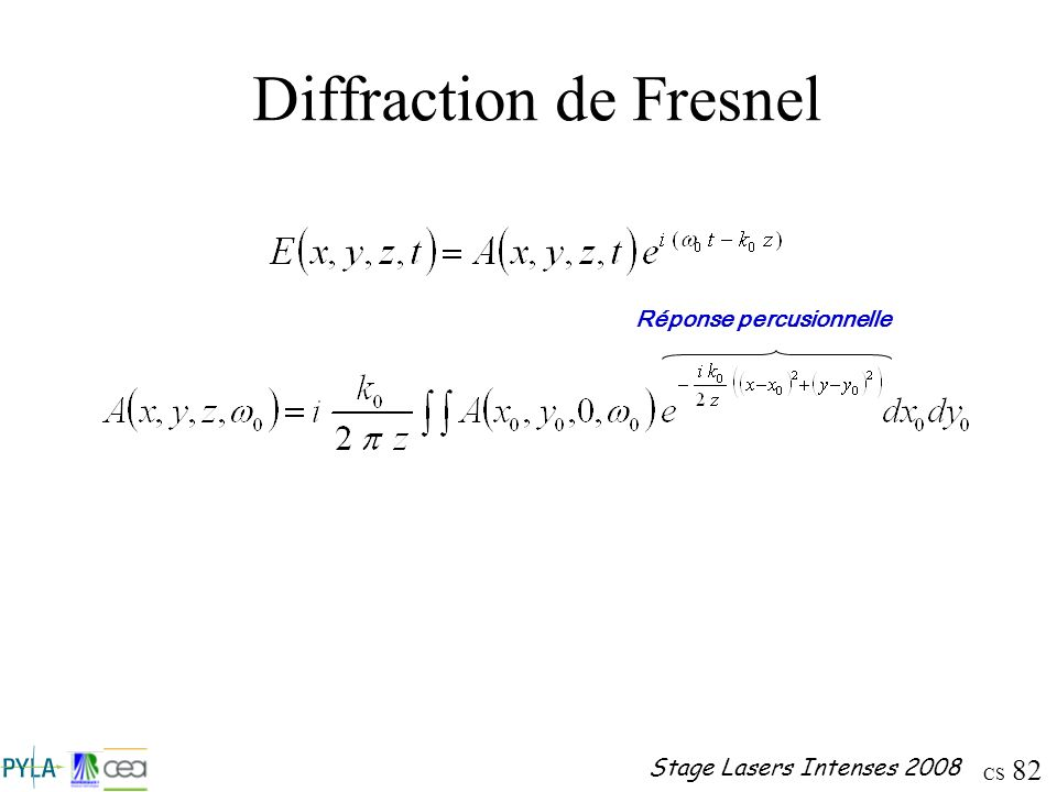 CS 82 Stage Lasers Intenses 2008 Diffraction de Fresnel Réponse percusionnelle