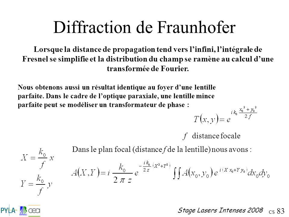 CS 83 Stage Lasers Intenses 2008 Diffraction de Fraunhofer Lorsque la distance de propagation tend vers linfini, lintégrale de Fresnel se simplifie et
