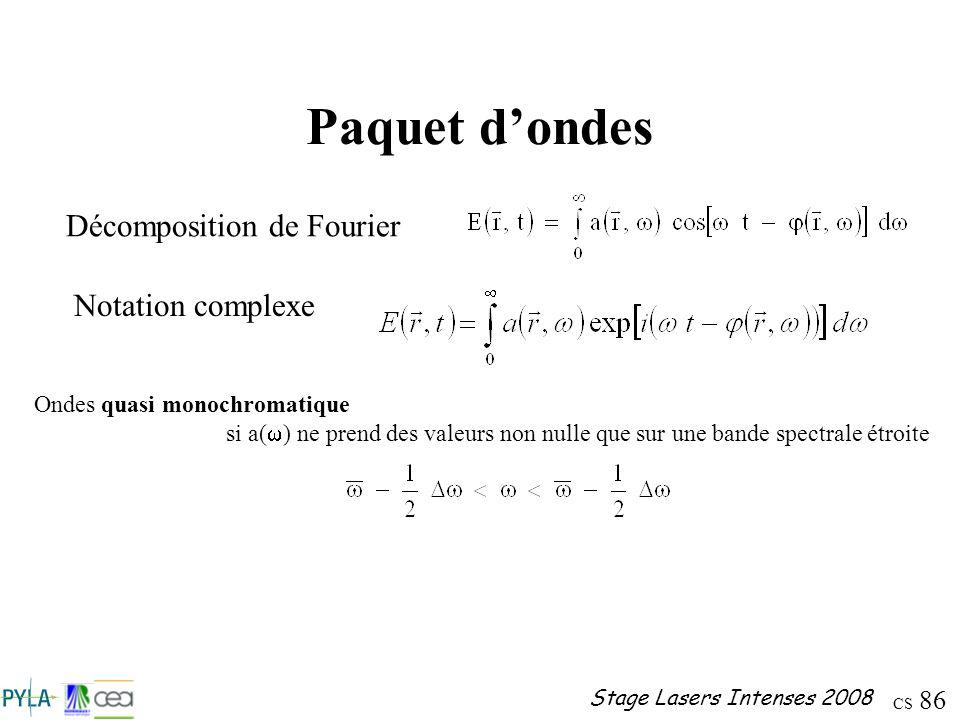 CS 86 Stage Lasers Intenses 2008 Paquet dondes Notation complexe Décomposition de Fourier Ondes quasi monochromatique si a( ) ne prend des valeurs non