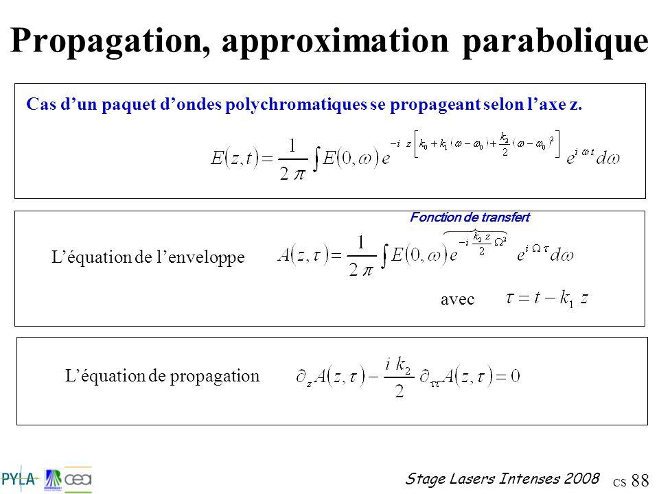 CS 88 Stage Lasers Intenses 2008 Propagation, approximation parabolique Cas dun paquet dondes polychromatiques se propageant selon laxe z. Léquation d