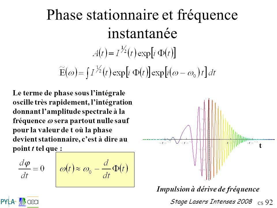 CS 92 Stage Lasers Intenses 2008 Phase stationnaire et fréquence instantanée Le terme de phase sous lintégrale oscille très rapidement, lintégration d