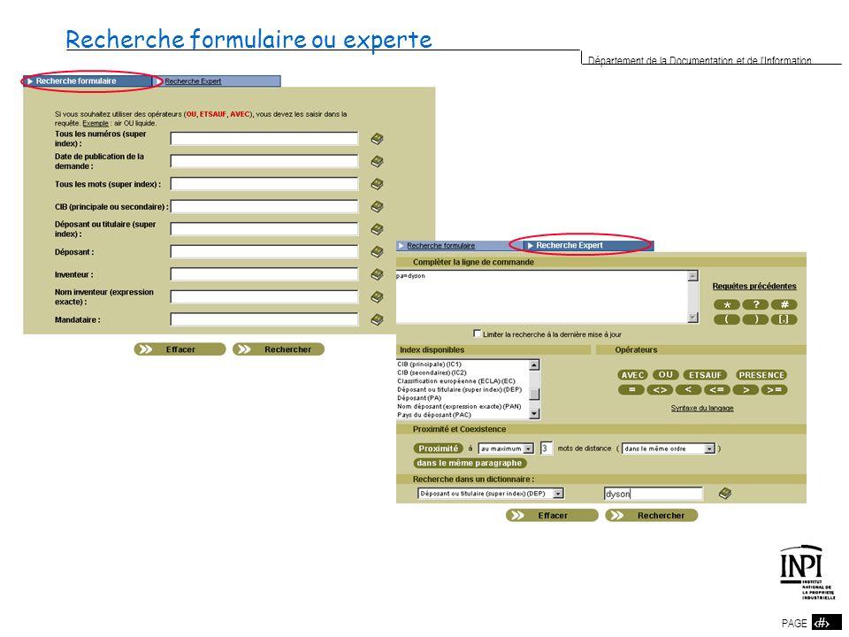 12 PAGE 12 Département de la Documentation et de l'Information Recherche formulaire ou experte