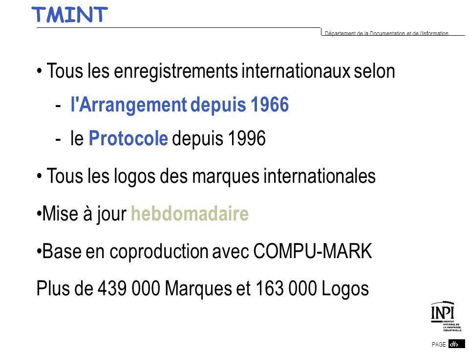 17 PAGE 17 Département de la Documentation et de l'Information Tous les enregistrements internationaux selon - l'Arrangement depuis 1966 - le Protocol