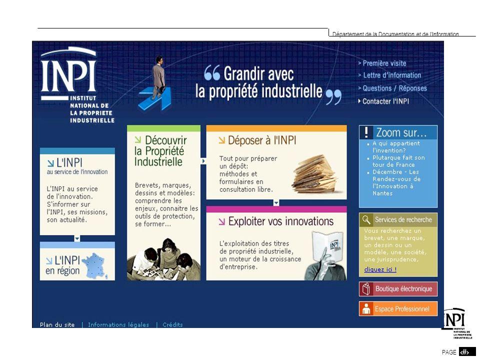 4 PAGE 4 Département de la Documentation et de l Information PRESENTATION DES PRINCIPAUX SITES INPI Recherche Titre ou Abrégé