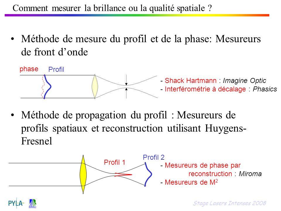 Comment mesurer la brillance ou la qualité spatiale ? Méthode de mesure du profil et de la phase: Mesureurs de front donde Méthode de propagation du p
