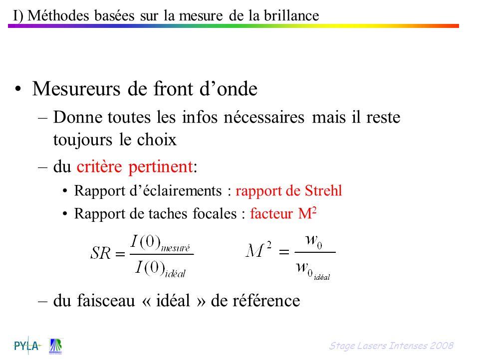 Mesureurs de front donde –Donne toutes les infos nécessaires mais il reste toujours le choix –du critère pertinent: Rapport déclairements : rapport de