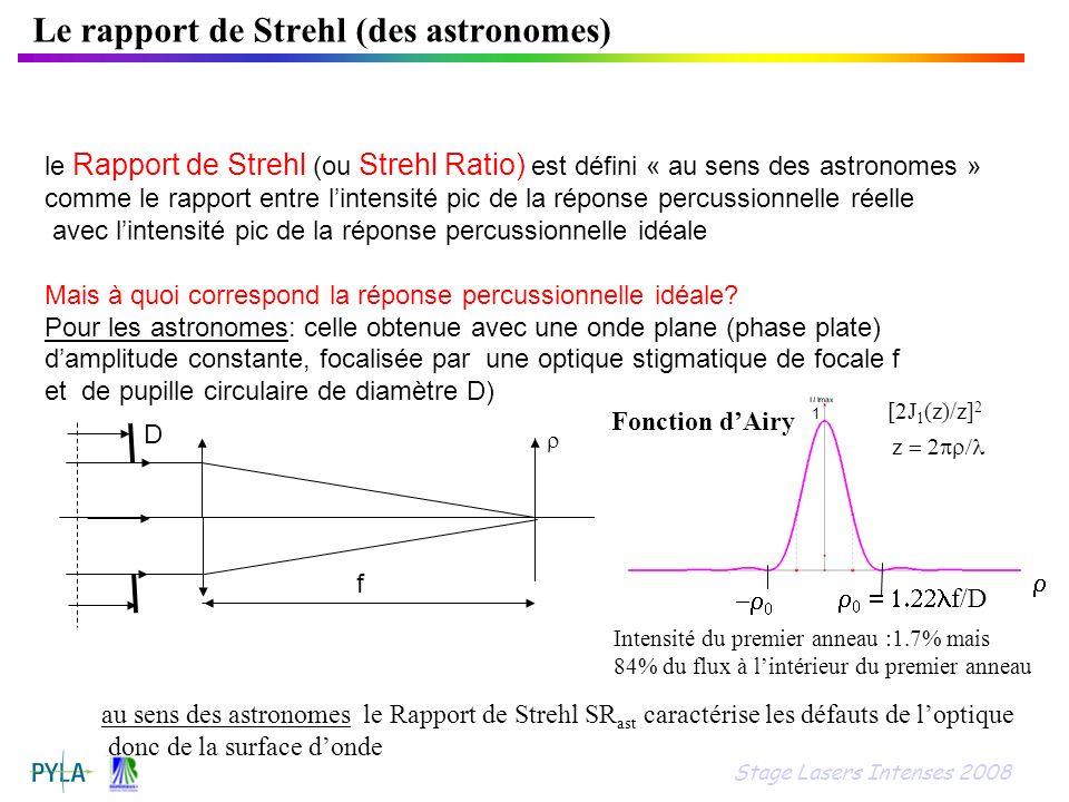 Le rapport de Strehl (des astronomes) le Rapport de Strehl (ou Strehl Ratio) est défini « au sens des astronomes » comme le rapport entre lintensité p