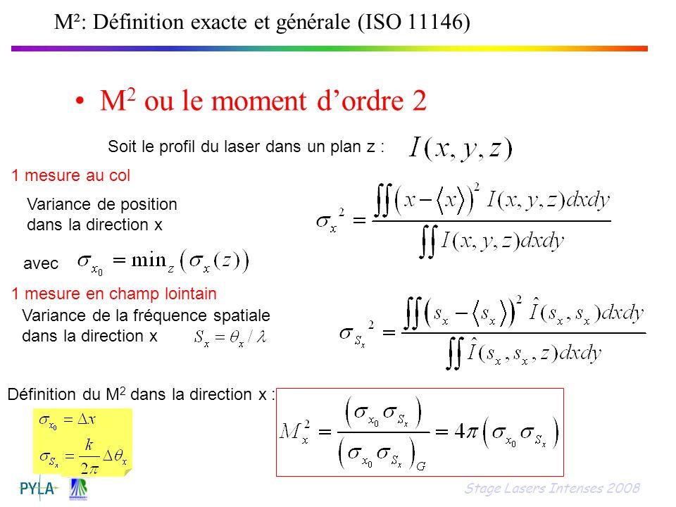 M²: Définition exacte et générale (ISO 11146) M 2 ou le moment dordre 2 Soit le profil du laser dans un plan z : Variance de position dans la directio