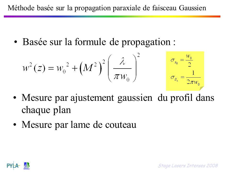 Méthode basée sur la propagation paraxiale de faisceau Gaussien Basée sur la formule de propagation : Mesure par ajustement gaussien du profil dans ch