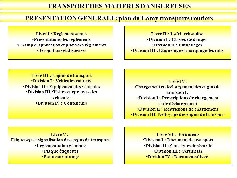 TRANSPORT DES MATIERES DANGEREUSES PRESENTATION GENERALE: plan du Lamy transports routiers Livre I : Réglementations Présentations des règlements Cham