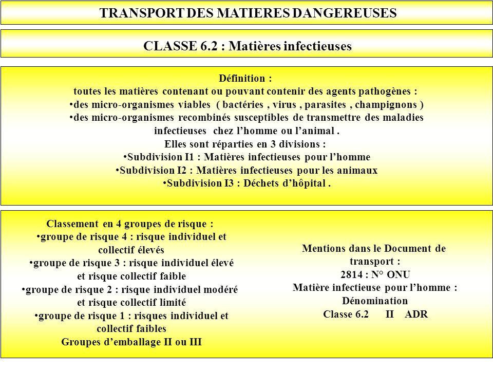 TRANSPORT DES MATIERES DANGEREUSES CLASSE 6.2 : Matières infectieuses Définition : toutes les matières contenant ou pouvant contenir des agents pathog