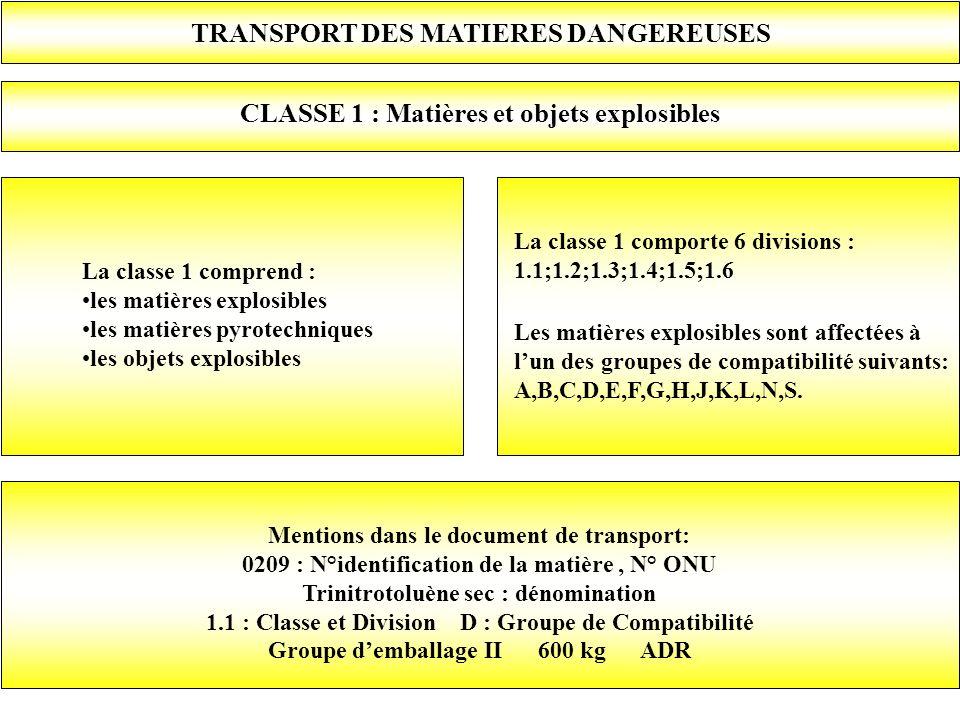 TRANSPORT DES MATIERES DANGEREUSES CLASSE 1 : Matières et objets explosibles La classe 1 comprend : les matières explosibles les matières pyrotechniqu
