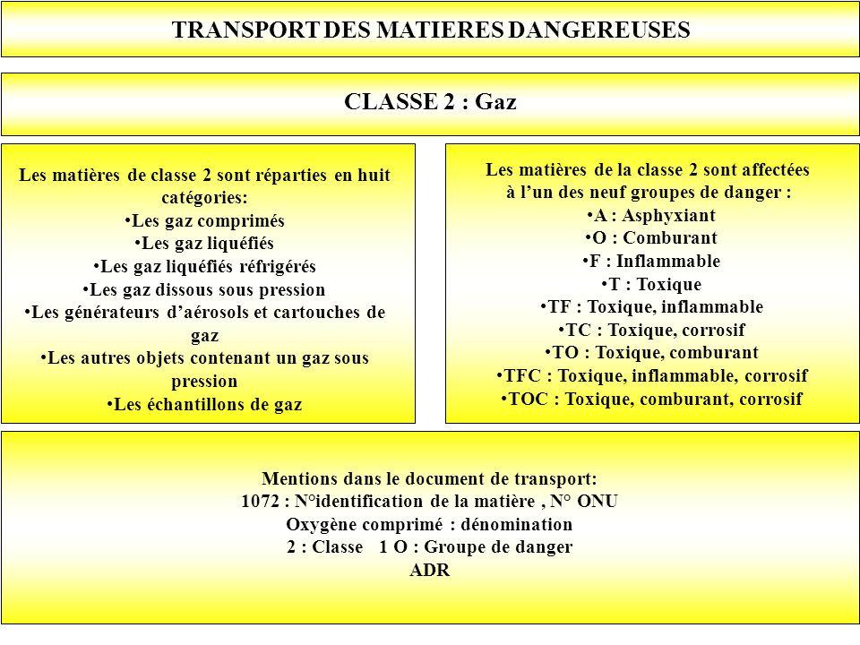Les matières de la classe 2 sont affectées à lun des neuf groupes de danger : A : Asphyxiant O : Comburant F : Inflammable T : Toxique TF : Toxique, i
