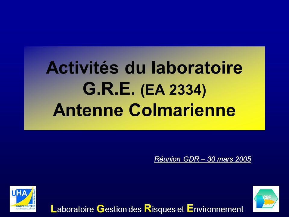 Activités du laboratoire G.R.E. (EA 2334) Antenne Colmarienne LG RE aboratoireestion desisques etnvironnement Réunion GDR – 30 mars 2005