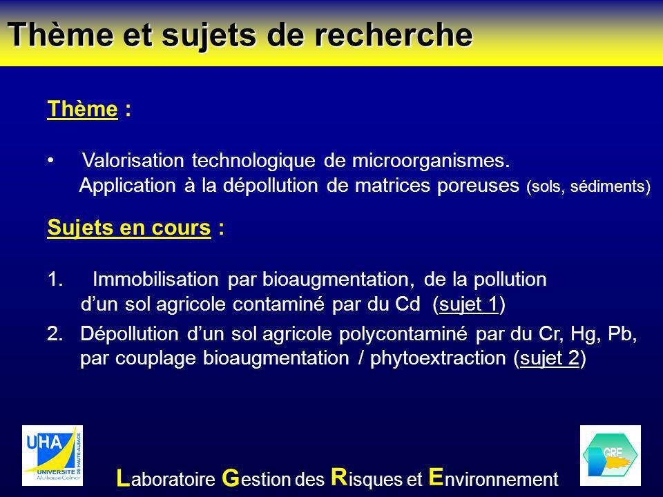 Thème et sujets de recherche Sujets en cours : 1. Immobilisation par bioaugmentation, de la pollution dun sol agricole contaminé par du Cd (sujet 1) 2