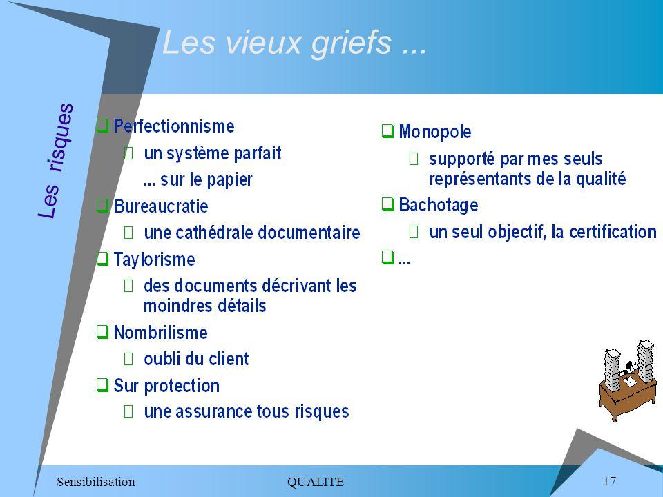 Sensibilisation QUALITE 17 Les risques Les vieux griefs...