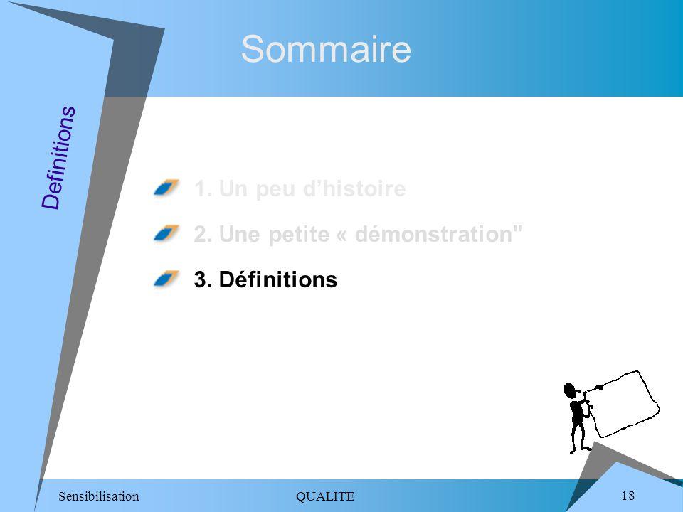 Sensibilisation QUALITE 18 Sommaire 1.Un peu dhistoire 2.