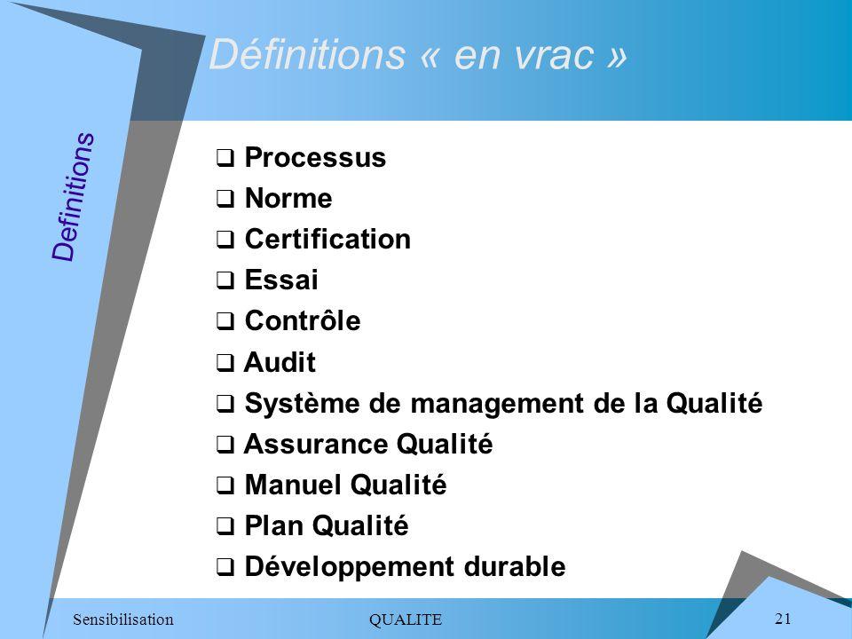Sensibilisation QUALITE 21 Processus Norme Certification Essai Contrôle Audit Système de management de la Qualité Assurance Qualité Manuel Qualité Plan Qualité Développement durable Definitions Définitions « en vrac »