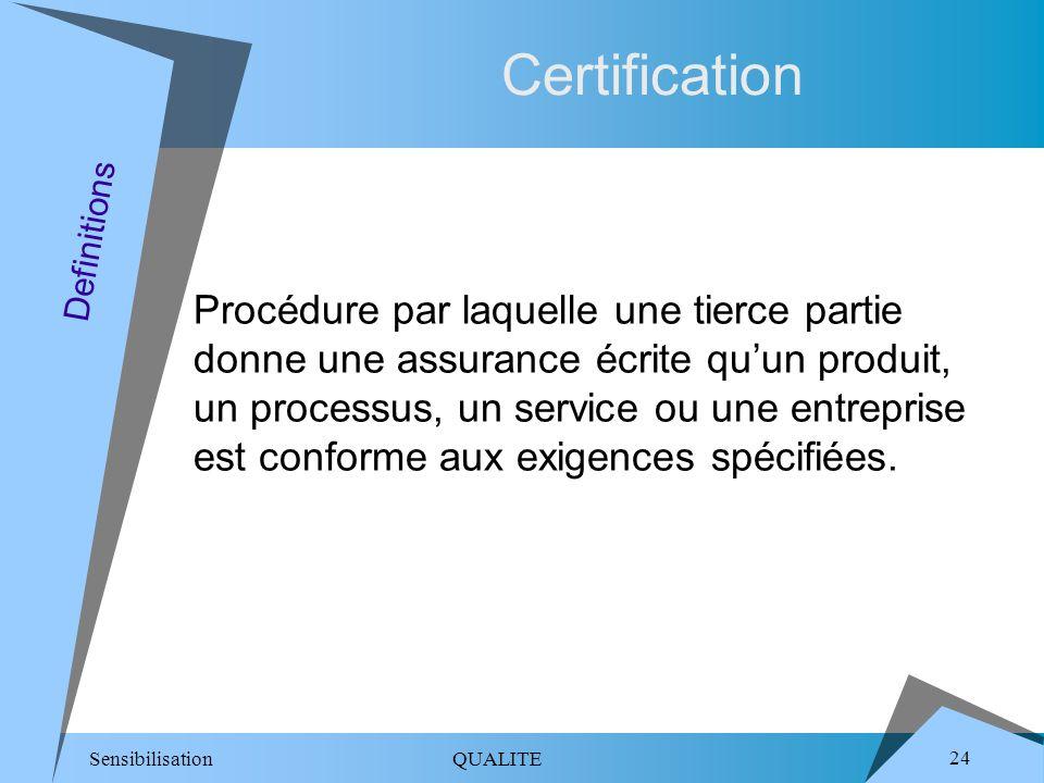 Sensibilisation QUALITE 24 Certification Procédure par laquelle une tierce partie donne une assurance écrite quun produit, un processus, un service ou une entreprise est conforme aux exigences spécifiées.