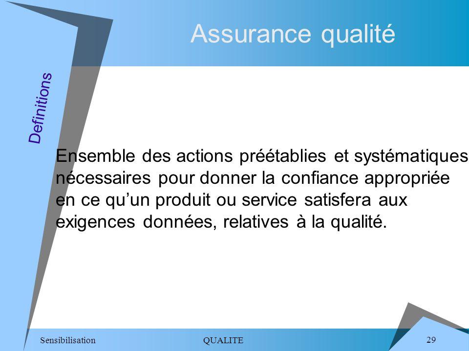 Sensibilisation QUALITE 29 Assurance qualité Ensemble des actions préétablies et systématiques nécessaires pour donner la confiance appropriée en ce quun produit ou service satisfera aux exigences données, relatives à la qualité.