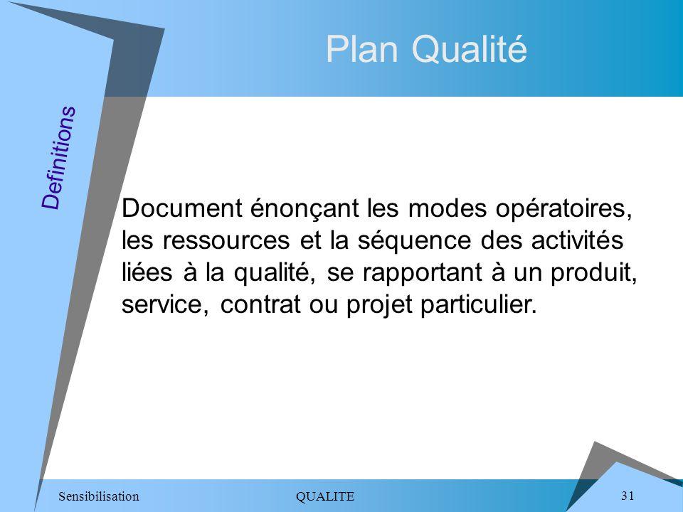 Sensibilisation QUALITE 31 Plan Qualité Document énonçant les modes opératoires, les ressources et la séquence des activités liées à la qualité, se rapportant à un produit, service, contrat ou projet particulier.