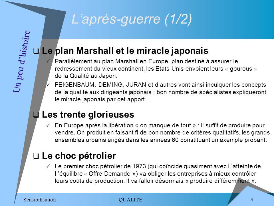 Sensibilisation QUALITE 9 Un peu dhistoire Laprès-guerre (1/2) Le plan Marshall et le miracle japonais Parallèlement au plan Marshall en Europe, plan destiné à assurer le redressement du vieux continent, les Etats-Unis envoient leurs « gourous » de la Qualité au Japon.