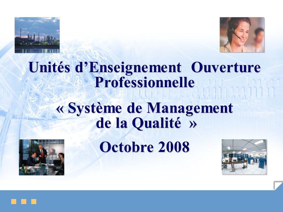 Unités dEnseignement Ouverture Professionnelle « Système de Management de la Qualité » de la Qualité » Octobre 2008