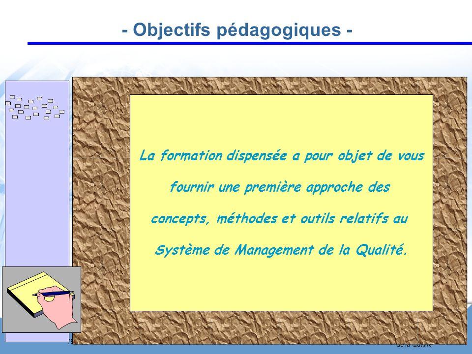 Page 6 19 février 2007 Système de Management de la Qualité Ouverture Professionnelle - Objectifs pédagogiques - La formation dispensée a pour objet de vous fournir une première approche des concepts, méthodes et outils relatifs au Système de Management de la Qualité.