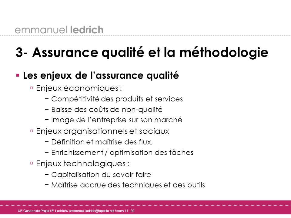 UE Gestion de Projet / E. Ledrich / emmanuel.ledrich@laposte.net / mars 14 - 20 3- Assurance qualité et la méthodologie Les enjeux de lassurance quali