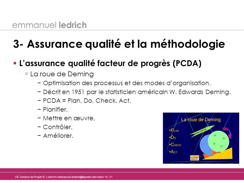 UE Gestion de Projet / E. Ledrich / emmanuel.ledrich@laposte.net / mars 14 - 21 3- Assurance qualité et la méthodologie Lassurance qualité facteur de