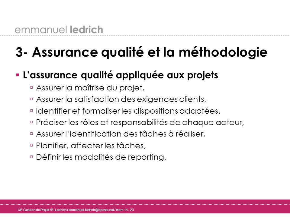 UE Gestion de Projet / E. Ledrich / emmanuel.ledrich@laposte.net / mars 14 - 23 3- Assurance qualité et la méthodologie Lassurance qualité appliquée a