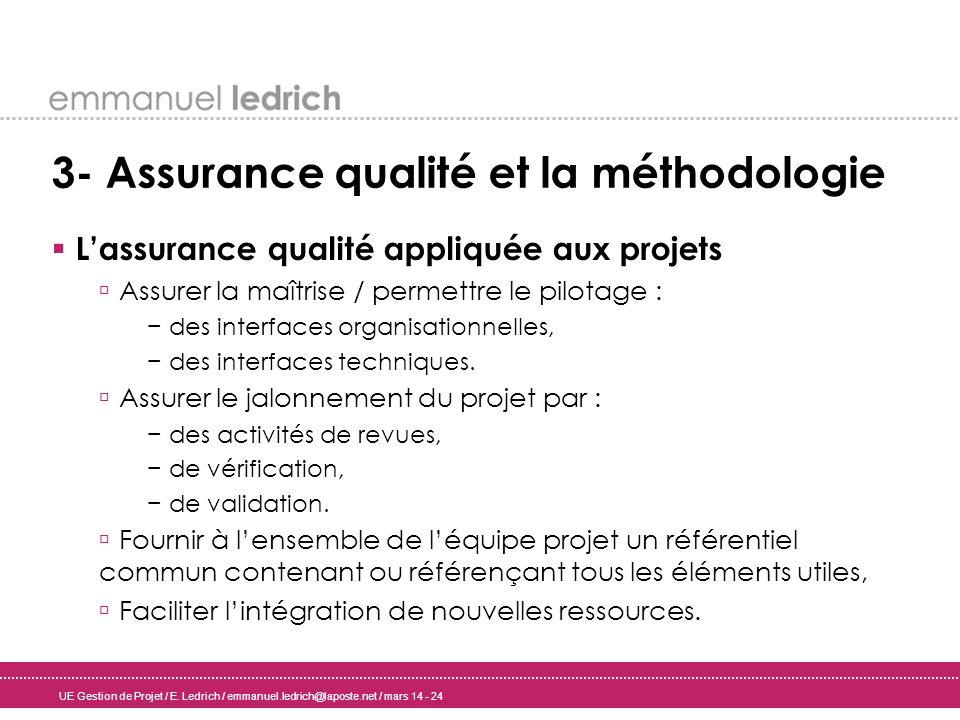 UE Gestion de Projet / E. Ledrich / emmanuel.ledrich@laposte.net / mars 14 - 24 3- Assurance qualité et la méthodologie Lassurance qualité appliquée a
