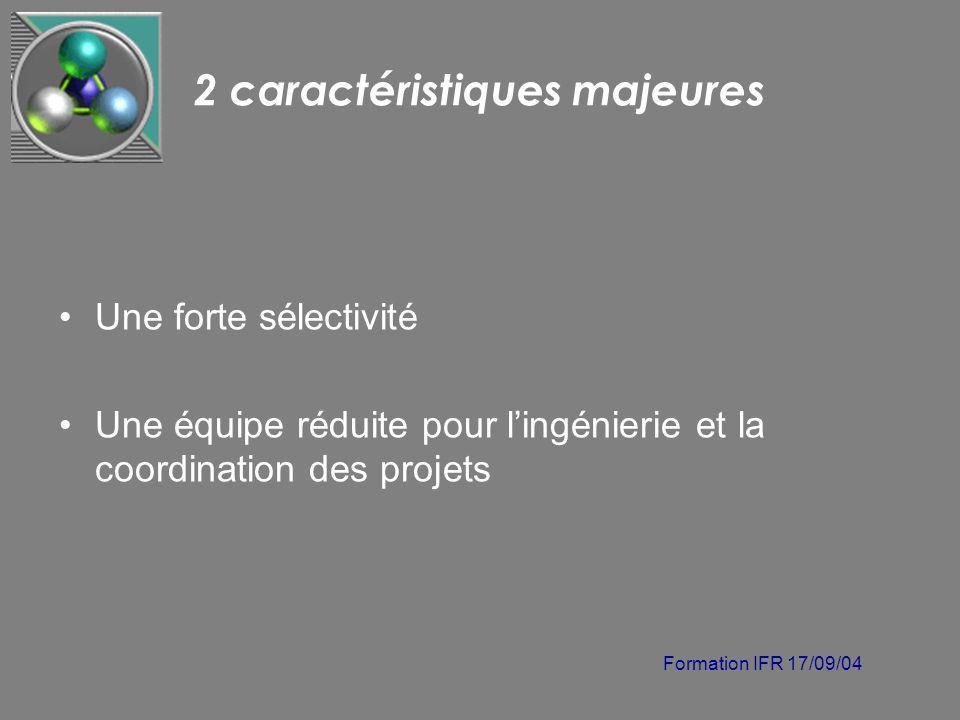 Formation IFR 17/09/04 2 caractéristiques majeures Une forte sélectivité Une équipe réduite pour lingénierie et la coordination des projets