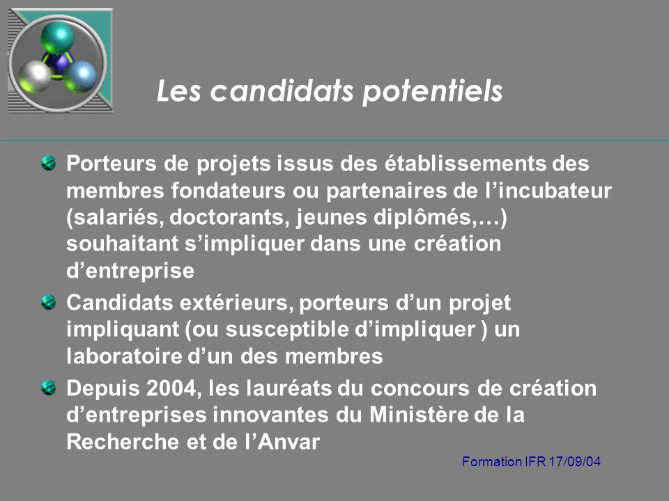 Formation IFR 17/09/04 Les candidats potentiels Porteurs de projets issus des établissements des membres fondateurs ou partenaires de lincubateur (sal