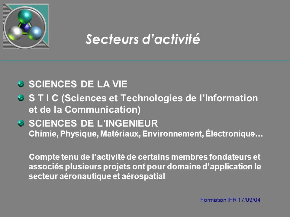 Formation IFR 17/09/04 Secteurs dactivité SCIENCES DE LA VIE S T I C (Sciences et Technologies de lInformation et de la Communication) SCIENCES DE LIN