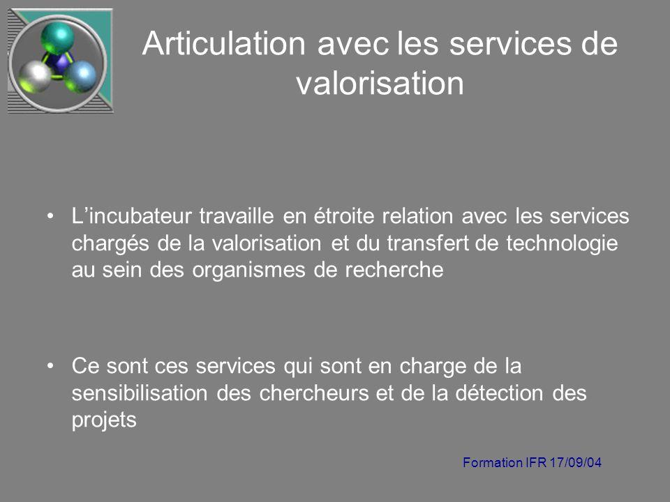Formation IFR 17/09/04 Articulation avec les services de valorisation Lincubateur travaille en étroite relation avec les services chargés de la valori