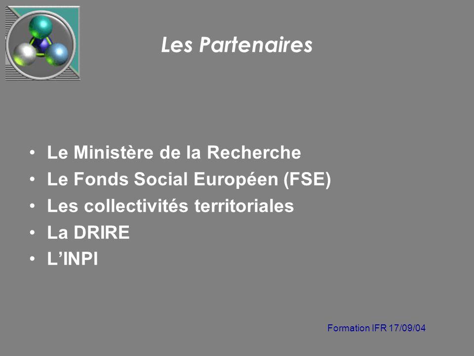Formation IFR 17/09/04 Les Partenaires Le Ministère de la Recherche Le Fonds Social Européen (FSE) Les collectivités territoriales La DRIRE LINPI