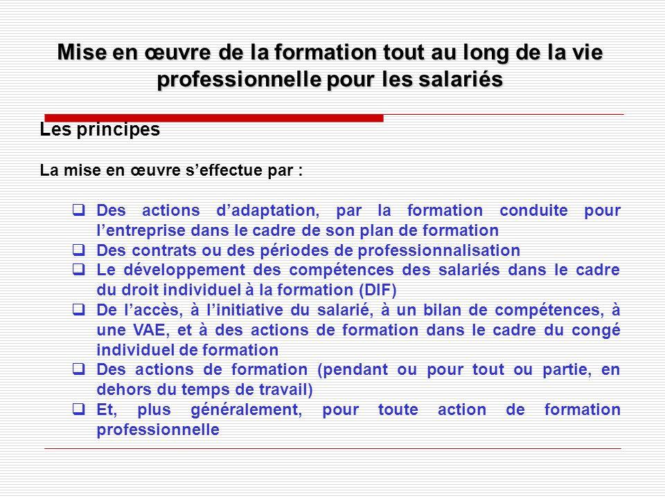 Mise en œuvre de la formation tout au long de la vie professionnelle pour les salariés Les principes La mise en œuvre seffectue par : Des actions dada