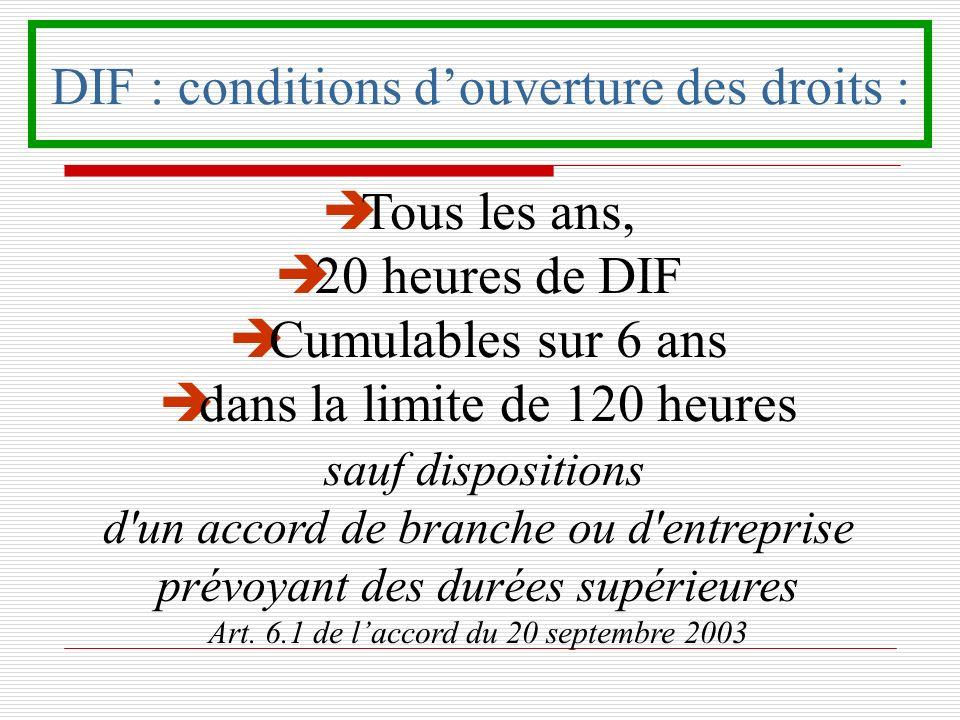 DIF : conditions douverture des droits : è Tous les ans, è 20 heures de DIF è Cumulables sur 6 ans è dans la limite de 120 heures sauf dispositions d'