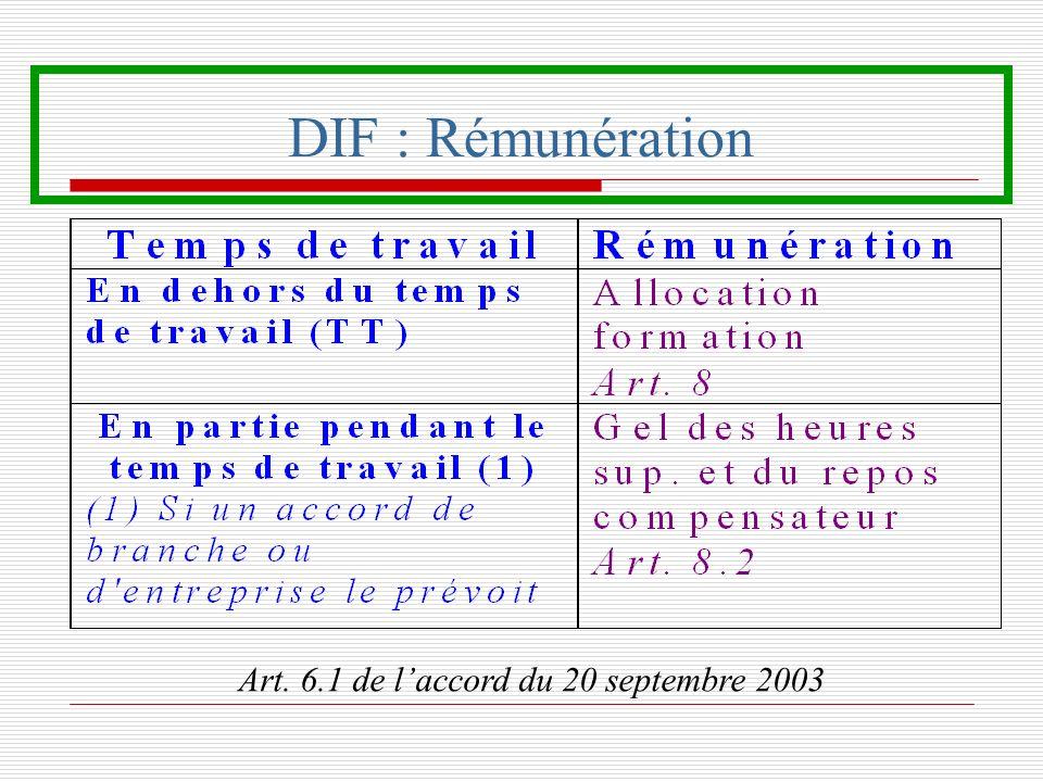 DIF : Rémunération Art. 6.1 de laccord du 20 septembre 2003