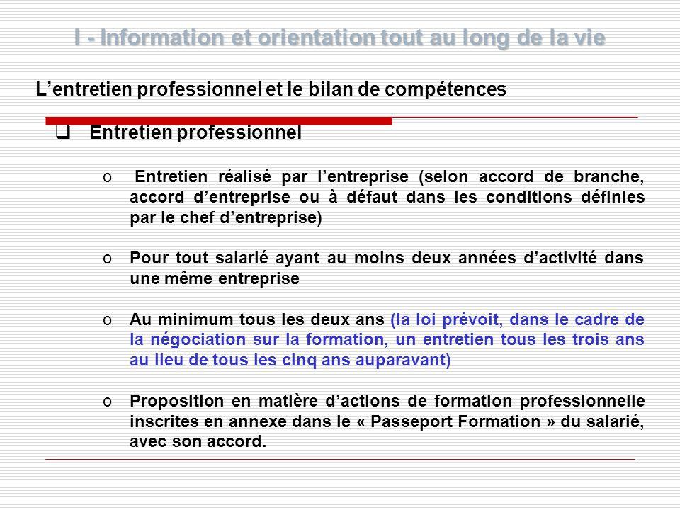 I - Information et orientation tout au long de la vie Lentretien professionnel et le bilan de compétences Entretien professionnel o Entretien réalisé