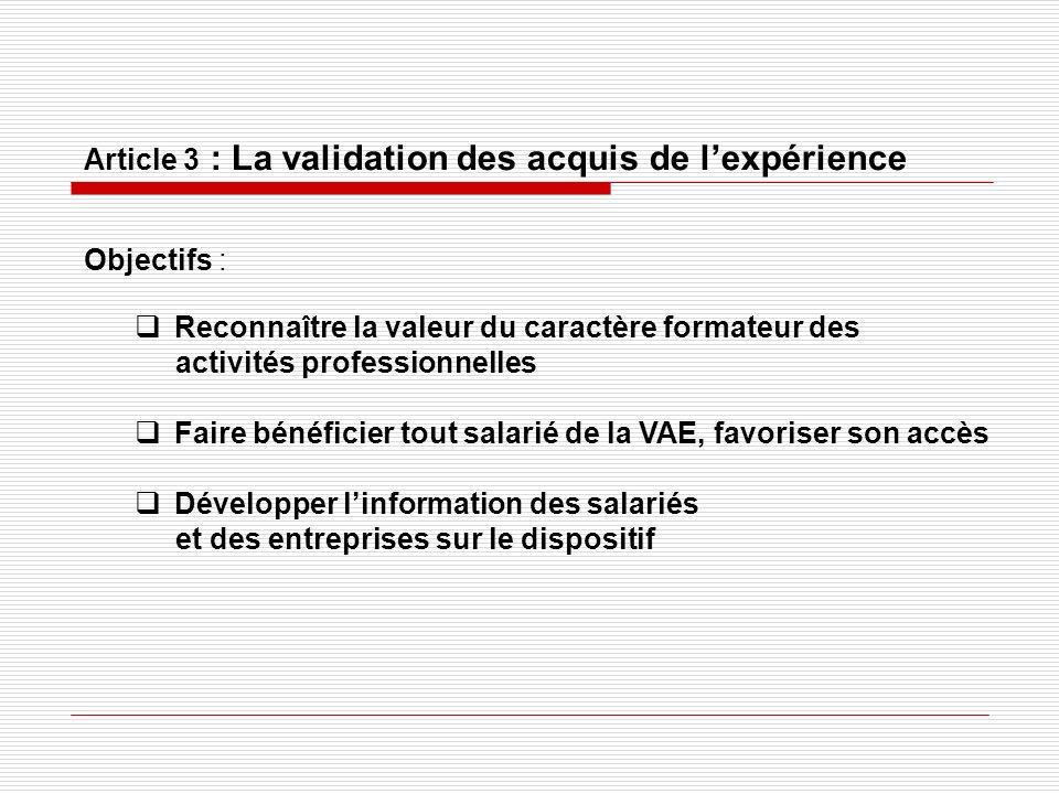 Article 3 : La validation des acquis de lexpérience Objectifs : Reconnaître la valeur du caractère formateur des activités professionnelles Faire béné