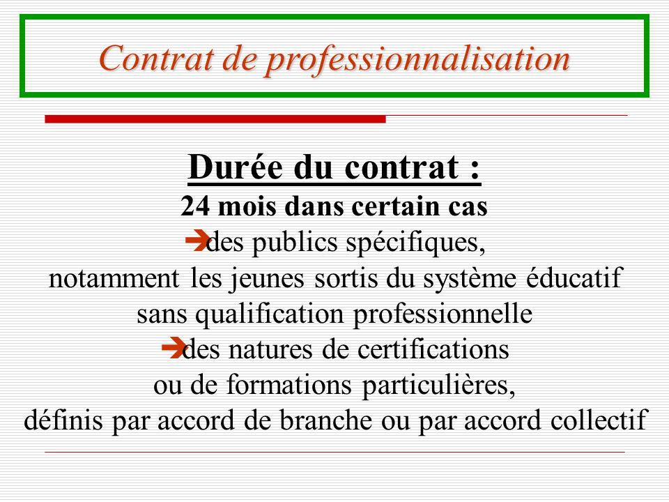 Contrat de professionnalisation Durée du contrat : 24 mois dans certain cas è des publics spécifiques, notamment les jeunes sortis du système éducatif