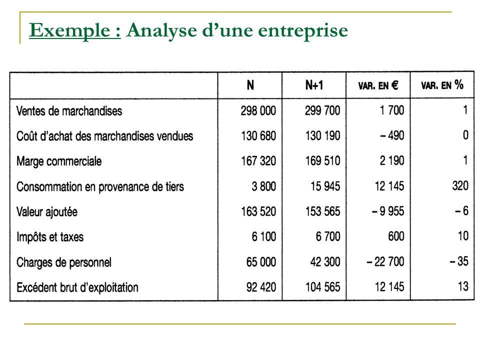 Exemple : Analyse dune entreprise