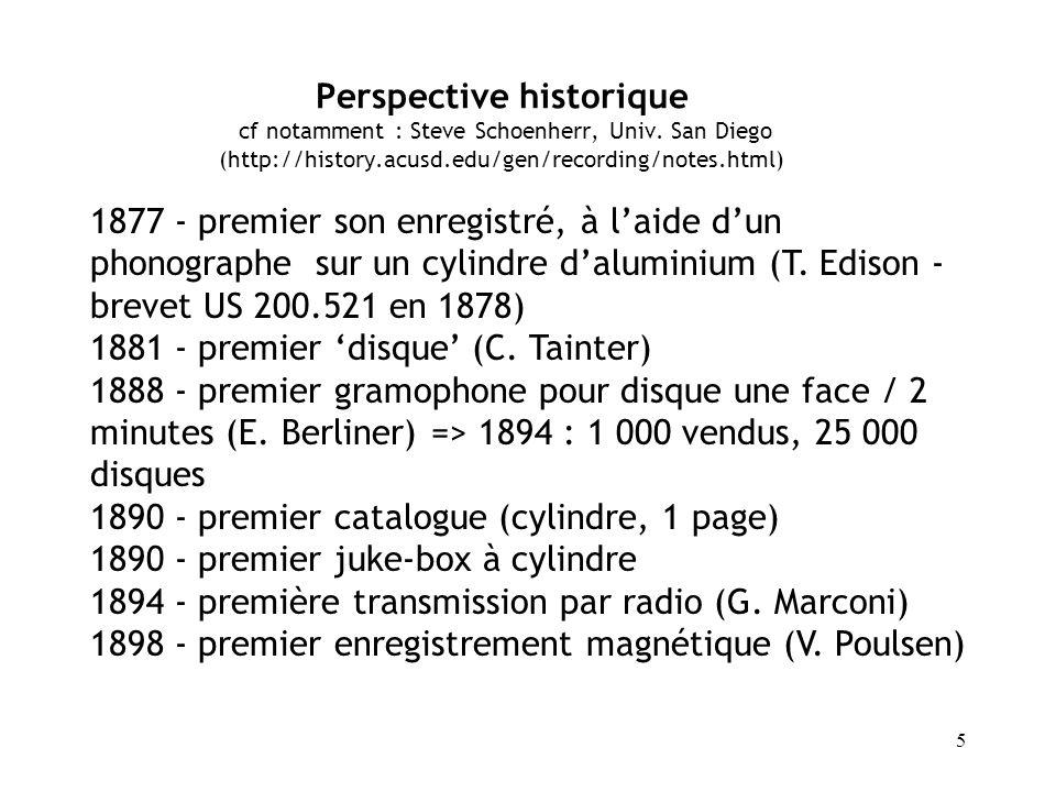 6 1913 - Edison concède la « défaite » du cylindre face au disque (derniers cylindres commercialisés : 1929) 1925 - première commercialisation de disque enregistré avec un procédé électrique 1924 - premier juke-box électrique 1931 - sortie du premier 33 tours vinyl (échec) 1931 - brevet sur application de poudre magnétique sur bande (F.