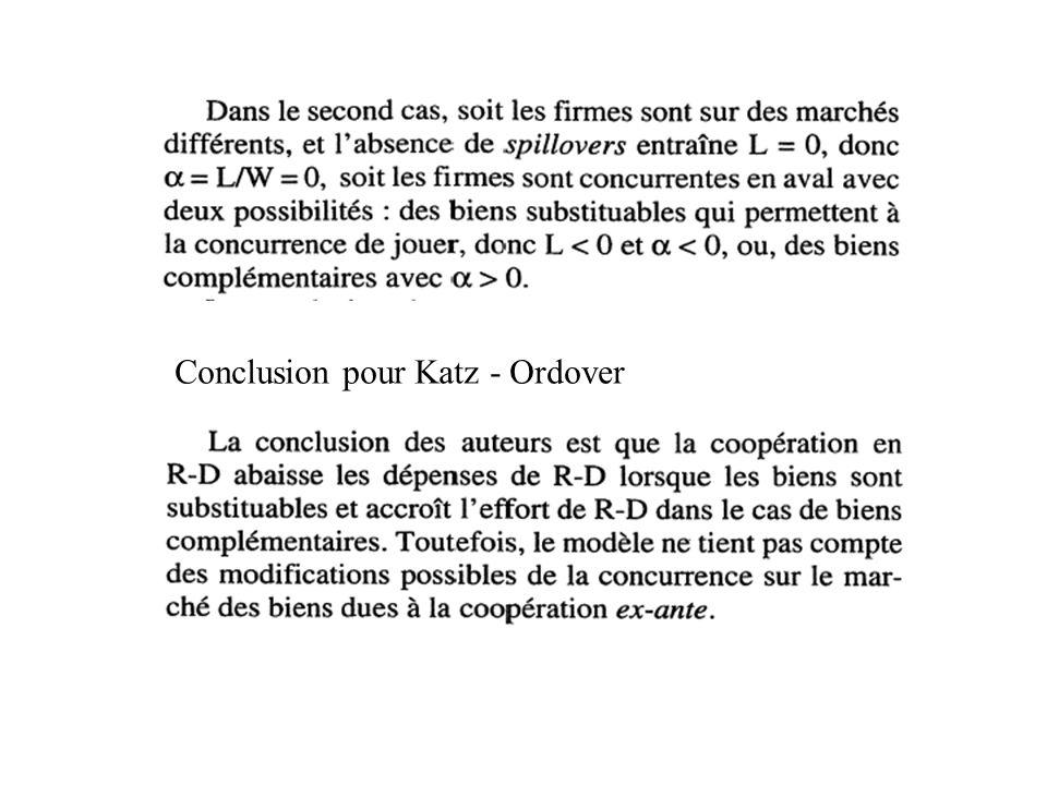 Conclusion pour Katz - Ordover